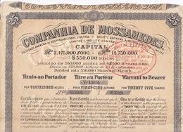 Companhia De Mossâmedes Ltd, Angola, Titre Au Porteur Pour 25 Actions De 25 Francs Chacune, Paris 29 Avril 1901 - Actions & Titres