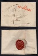 """DEPARTEMENTS CONQUIS - LA DYLE / 1801 """"94 / BRUXELLES"""" EN ROUGE & SCEAU SUR LAC - 40 Mm (ref 5552h) - 1792-1815: Conquered Departments"""