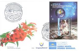 Uruguay 2019 SPD APOLO XI. 50 Años Del Primer Alunizaje (20 De Julio De 1969) - FDC & Commemorrativi