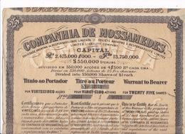 Companhia De Mossâmedes Ltd, Angola, Titre Au Porteur Pour 25 Actions De 25 Francs Chacune, Lisbonne 25 Janvier 1899 - Actions & Titres