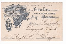 Italy Italia 1919 Cartolina Postale Pubblicitaria Cudia Vini Marsala X Correggio - 1900-44 Vittorio Emanuele III