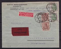 DR MiNr 140 + 150 Auf EILBRIEF V. 13.9.1921 Mit PERFIN CHEMNITZ - WESTERLAND - Deutschland