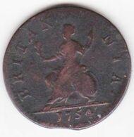 Grande Bretagne. 1 Farthing 1754 , George II - 1662-1816 : Anciennes Frappes Fin XVII° - Début XIX° S.