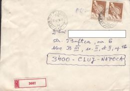 FOLKLORE ART, POTTERY, WOOD CARVINGS, STAMPS ON REGISTERED COVER, 1990, ROMANIA - Cartas
