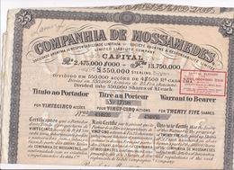 Companhia De Mossâmedes Ltd, Angola, Titre Au Porteur Pour 25 Actions De 25 Francs Chacune, Paris 31 Mars 1910 - Actions & Titres