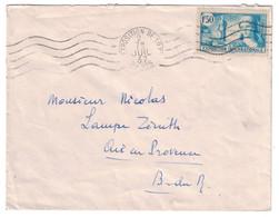 1937 - TIMBRE N° 336 + OMEC CONCORDANTE EXPOSITION INTERNATIONALE DE PARIS SEUL SUR LETTRE Pour AIX EN PROVENCE - Marcophilie (Lettres)