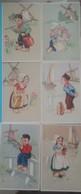 Lot 6 Cartes ILLUSTRATEUR Litho  Hollandais Hollandaises Fille Garcon Edition COLORPRINT SPECIAL Du Numero 5159 à 5164 - Illustrateurs & Photographes