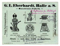 Grande Carte De Publicité, Maschinen Fabrik, Halle A. S. Allemagne, - Chromo