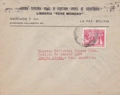 1942 BOLIVIA COMMERCIAL COVER-LIBRERIA RENE MORENO. CIRCULEE TO ARGENTINE, BANDELETA PARLANTE- BLEUP - Bolivie