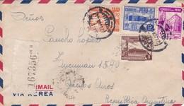 1944 AIRMAIL COVER. CIRCULEE TO ARGENTINE, REGISTERED- BLEUP - Peru