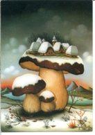 Champignon - Paysage De Neige, Un Village Construit Sur Un Bolet - Illustration De Ljuba Stolfa - Champignons