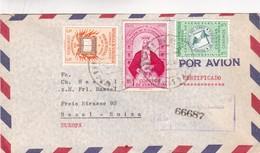 1957 VENEZUELA AIRMAIL COVER. CIRCULEE TO ARGENTINE, MIXED STAMPS, REGISTERED- BLEUP - Venezuela