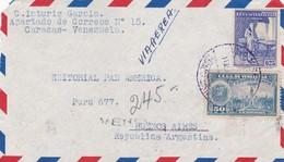 1950'S VENEZUELA AIRMAIL COVER ONLY FRONT. CIRCULEE TO ARGENTINE- BLEUP - Venezuela