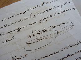 MGR Pierre Louis PARISIS (1795-1866) Evêque LANGRES & ARRAS Boulogne Saint Omer. Député Morbihan. AUTOGRAPHE Bishop - Autographs