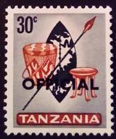Tanzanie Tanzania 1965 Bouclier Lance Shield Spear Surchargé Overprinted OFFICIAL Service Yvert S5 * MH - Tanzania (1964-...)