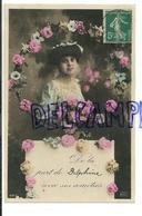 De La Part De Delphine. Jeune Femme, Couronne De Fleurs. 1910. Glacée - Prénoms