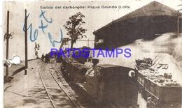 116281 CHILE LOTA SALIDA DEL CARBON DEL PIQUE GRANDE TRAIN TREN PERFORATION  CIRCULATED TO ARGENTINA POSTAL POSTCARD - Chile