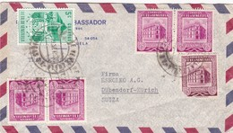1953 VENEZUELA COMMERCIAL COVER-G.AMBASSADOR. CIRCULEE TO SWITZERLAND, STAMPS A PAIR- BLEUP - Venezuela
