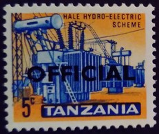 Tanzanie Tanzania 1965 électricité Hydraulique Electricity Surchargé Overprinted OFFICIAL Service Yvert S1 * MH - Tanzania (1964-...)