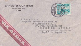1943 PERU COMMERCIAL COVER-ERNESTO GUNTHER. CIRCULEE TO ARGENTINE- BLEUP - Pérou
