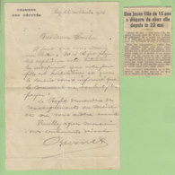 Dispartion D'une Jeune Fille De Lancey (1936), Lettre Autographe Du Député Grenoblois Joannès Ravanat - Autographes