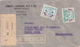 1957 PARAGUAY COMMERCIAL COVER-ZANOTTI CAVAZZONI BILLI Y CIA. CIRCULEE TO ARGENTINE, REGISTERED- BLEUP - Paraguay
