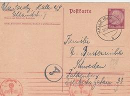 Allemagne Entier Postal Censuré Halle Pour La Suède 1940 - Deutschland