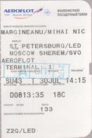 AEROFLOT (Russian Airlines ) - Internal Flight  -St.Petersburg - Moscow  -   Boarding Pass X2 - Vliegtickets