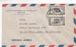 1950'S BOLIVIA COMMERCIAL COVER-COMPAÑIA INTERNACIONAL DE RADIO BOLIVIANA. CIRCULEE TO ARGENTINE, STAMPS A PAIR- BLEUP - Bolivie