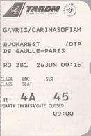 TAROM (-Romanian Airlines ) - Bucharest(Romania) -Paris (France) -Boarding Pass X2 - Vliegtickets