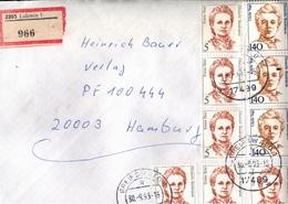 ! 1 Einschreiben 1993, Mit Alten DDR R-Zettel Aus Lubmin (Absender), Poststempel 17489 Greifswald, Dauerserie Frauen - [7] Repubblica Federale