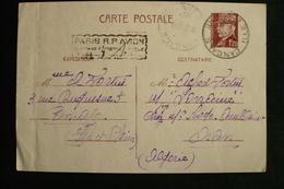 Entier Pétain CP Surtaxe Aérienne Avion Pour Algérie Cancale 20/07/42 - Postmark Collection (Covers)