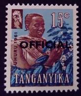 Tanganyika 1961 Agriculture Café Coffee Surchargé Overprinted OFFICIAL Service Yvert S3 ** MNH - Kenya, Uganda & Tanganyika