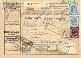 SH 0021 -N° 131-134(2) (recto) GUSTENHEUSEN 1953 S/Paketkarte - Au Dos BIZONE 98 (paire). TB - Storia Postale