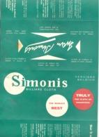 Publicité Multilingue En 4 Volets Pour Les Draps De BILLARD  Ywan SIMONIS De Verviers  (textile ).(jm) - Pubblicitari
