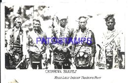116303 US COSTUMES CHIPPEWA BRAVES NATIVE SPOTTED CIRCULATED TO ARGENTINA  POSTAL POSTCARD - Non Classificati