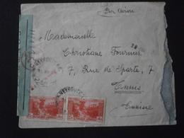 GRAND LIBAN LEBANON TIMBRE 173 ENVELOPPE LETTRE COURRIER PLI ENV BANDE CENSURE CONTROLE CROIX LORRAINE BEYROUTH AVION - Great Lebanon (1924-1945)