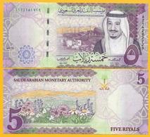 Saudi Arabia 5 Riyals P-38b 2017 UNC Banknote - Saudi-Arabien