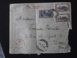 GRAND LIBAN LEBANON TIMBRE 162 PA 70 ENVELOPPE LETTRE COURRIER PLI BANDE CENSURE CONTROLE CROIX LORRAINE BEYROUTH AVION - Great Lebanon (1924-1945)