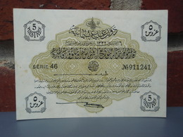 """Ancien Billet Turc De 5 Piastres Série 46. Ecrit Au Dos : """" Souvenir De Constantinople Le 4 Janvier 1922 """". - Turquie"""