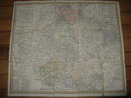 """BELLE ET RARE CARTE COULEURS DE """"FRANKEN ET SES ENVIRONS"""" ALSACE PREMIER EMPIRE 1806 EN ALLEMAND - Geographical Maps"""