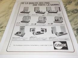 ANCIENNE PUBLICITE LA MUSIQUE COMME LA LUMIERE CLAUDE   1963 - Autres
