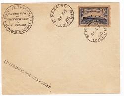 Saint Nazaire 1935 Loire Atlantique Paquebot Le Normandie Le Commissaire Des Postes Service Maritime - Lettres & Documents