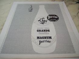 ANCIENNE PUBLICITE POUR UNE GRANDE FAMILLE MAGNUM  PERRIER   1963 - Perrier