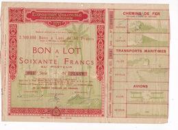 Exposition Coloniale Internationale Paris 1931, Bon à Lot De 60 F Au Porteur - Actions & Titres