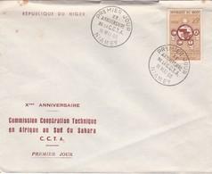 1960 NIGER FDC. Xe ANNIVERSAIRE COMMISSION COOPERATION TECHNIQUER EN AFRIQUE AU SUD DU SAHARA CCTA- BLEUP - Niger (1960-...)