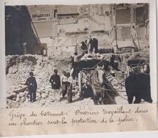 1911 GRÈVE DU BATIMENT OUVRIERS TRAVAILLANT CHANTIER PROTECTION POLICE 18*13CM Maurice-Louis BRANGER PARÍS (1874-1950) - Beroepen