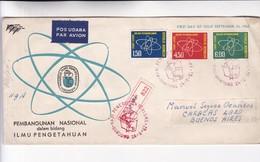 1962 INDONESIA FDC. PEMBANGUNAN NASIONAL DALAM BIDANG ILMU PENGETAHUAN. CIRCULEE TO ARGENTINE, REGISTERED- BLEUP - Indonésie