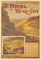 AFFICHE SUR CARTE--VIC-SUR-CERE--Gr.Hôtel---chemins De Fer D'orléans----voir 2 Scans - Non Classés