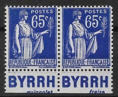 FRANCE PAIRE PAIX N° 365 AVEC PUB BYRRH GUIGNOLET + BYRRH FRAISE NEUFS ** GOMME SANS CHARNIERE - Publicités
